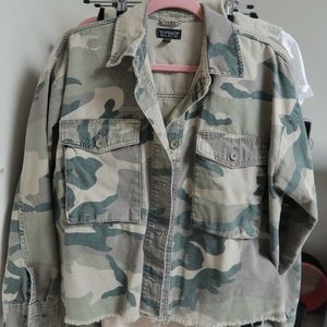 Topshop cropped camouflage jacket